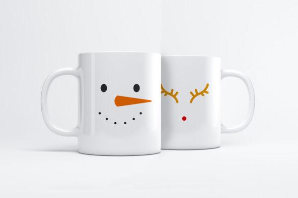 Mok met kerst opdruk - Rudolph en sneeuwpop